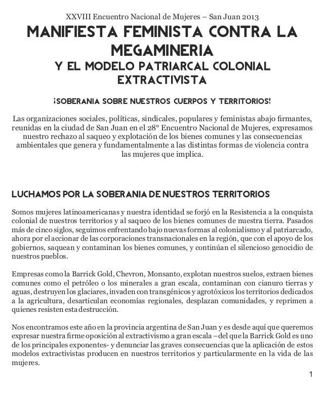 XXVIII Encuentro Nacional de Mujeres – San Juan 2013  MANIFIESTA FEMINISTA CONTRA LA MEGAMINERiA Y EL MODELO PATRIARCAL CO...
