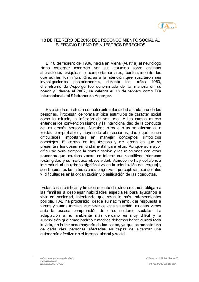 Federación Asperger España (FAE)) C/ Bohonal 15-17, 28053-Madrid www.asperger.es fae.asperger@gmail.com 91 786 10 22 / 639...