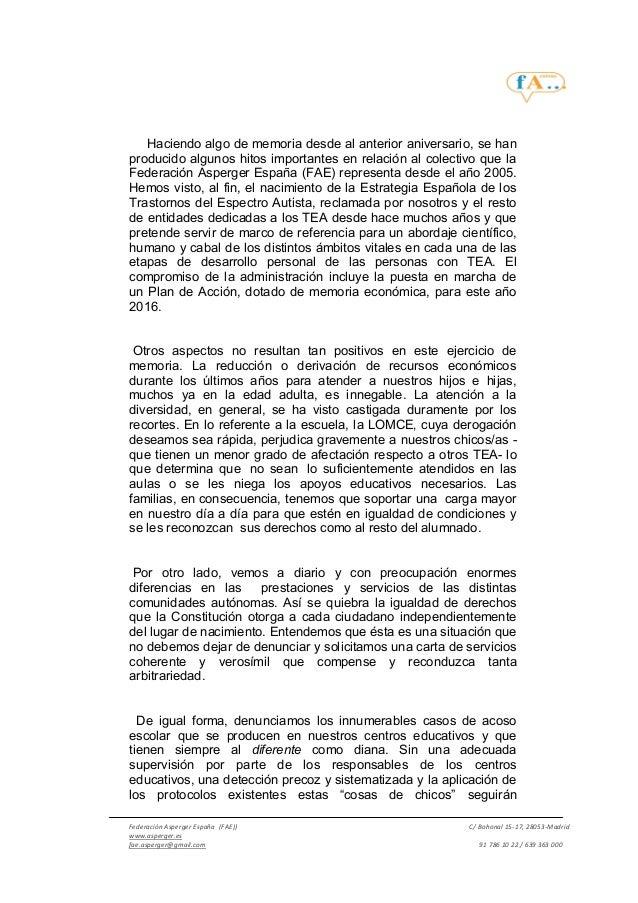 Manifiesto FEDERACIÓN ASPERGER ESPAÑA 18 de febrero 2016 #18FAsperger Slide 2