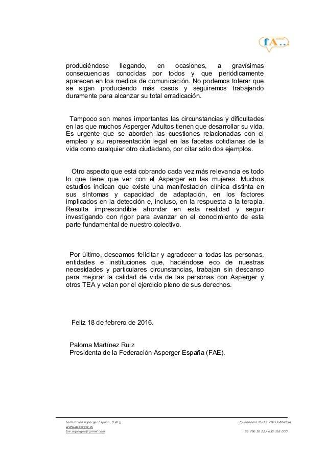 Manifiesto FEDERACIÓN ASPERGER ESPAÑA 18 de febrero 2016 #18FAsperger Slide 3