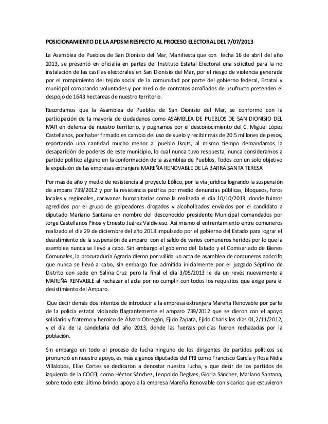 POSICIONAMIENTO DE LA APDSM RESPECTO AL PROCESO ELECTORAL DEL 7/07/2013 La Asamblea de Pueblos de San Dionisio del Mar, Ma...