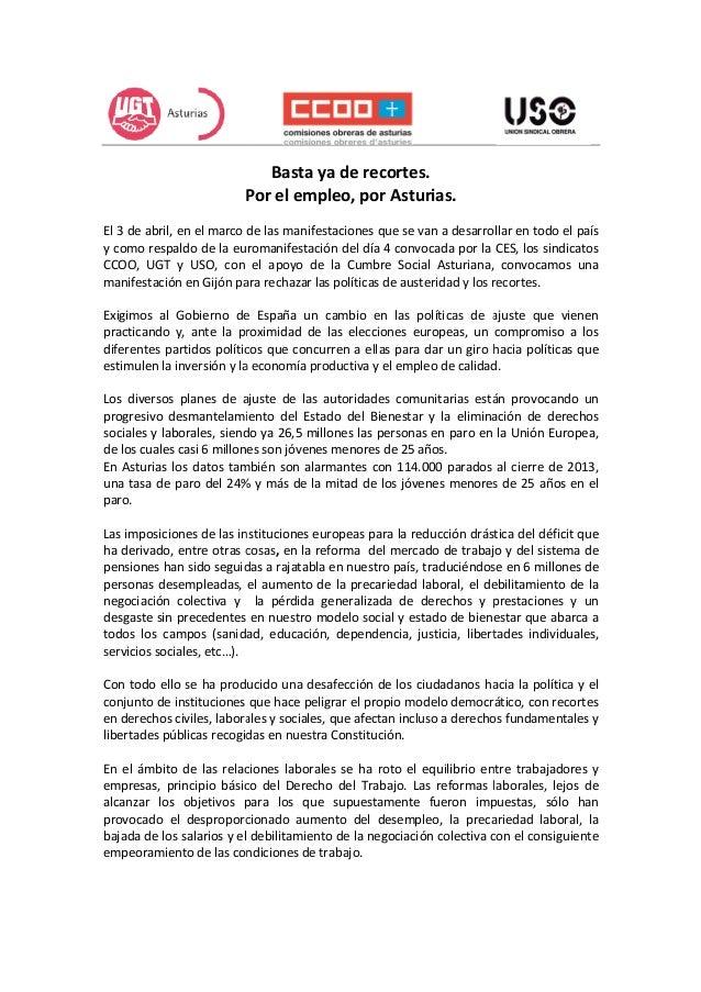 Por el empleo, por Asturias El 3 de abril, en el marco de las manifestaciones que se van a desarrollar en todo el país y c...