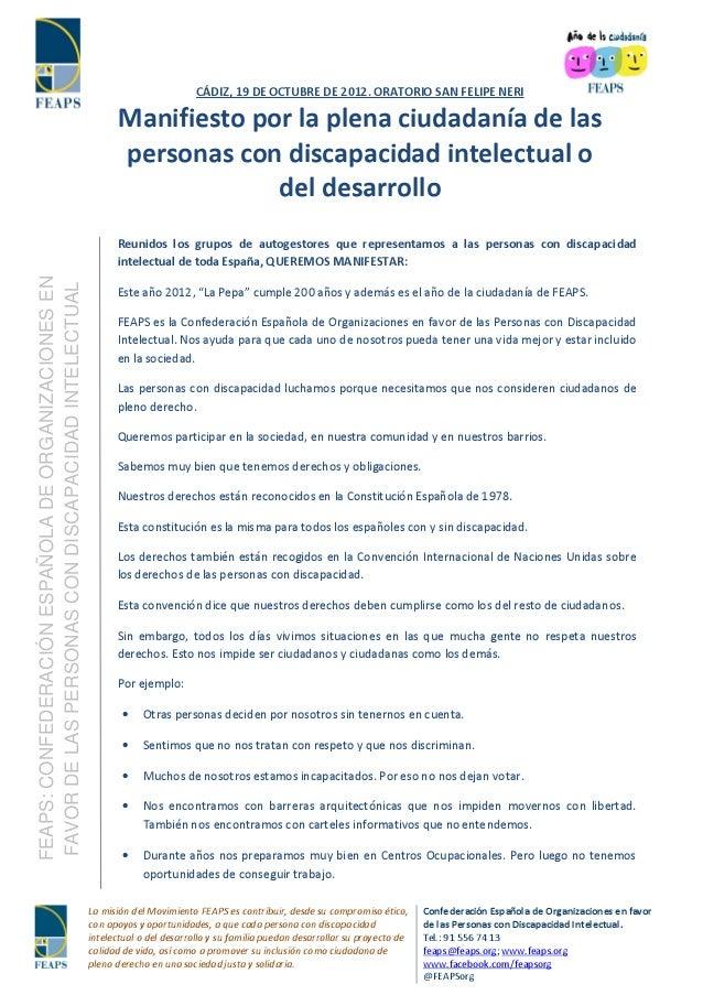 CÁDIZ, 19 DE OCTUBRE DE 2012. ORATORIO SAN FELIPE NERI                                                           Manifiest...