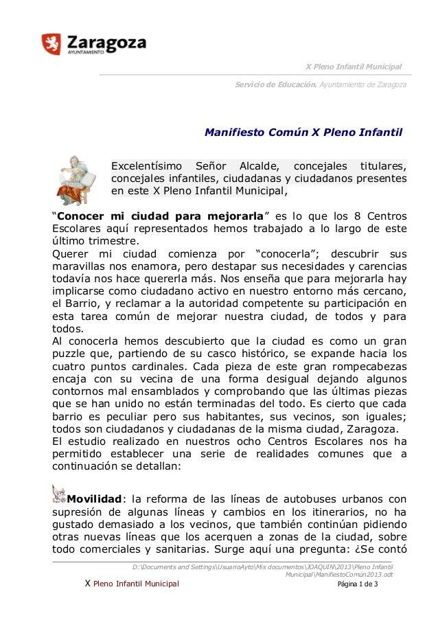 X Pleno Infantil Municipal Servicio de Educación. Ayuntamiento de Zaragoza  Manifiesto Común X Pleno Infantil Excelentísim...