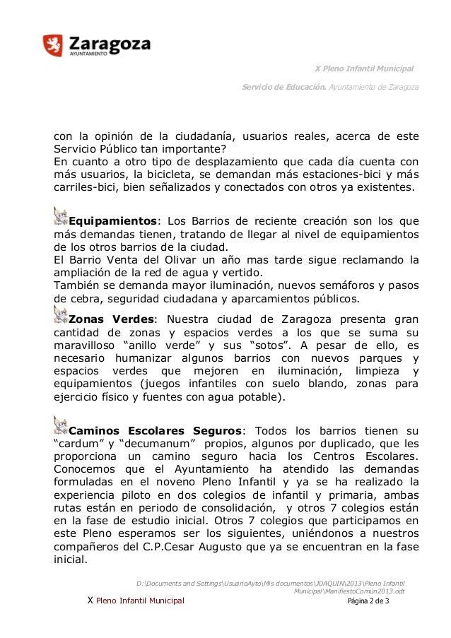 X Pleno Infantil Municipal Servicio de Educación. Ayuntamiento de Zaragoza  con la opinión de la ciudadanía, usuarios real...