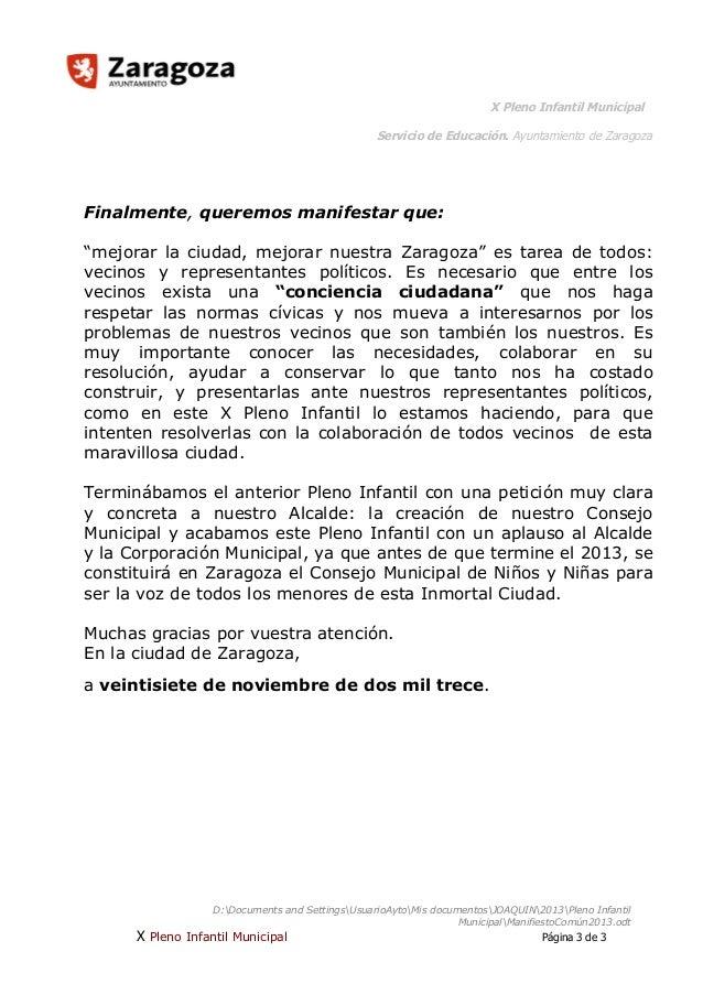 """X Pleno Infantil Municipal Servicio de Educación. Ayuntamiento de Zaragoza  Finalmente, queremos manifestar que: """"mejorar ..."""