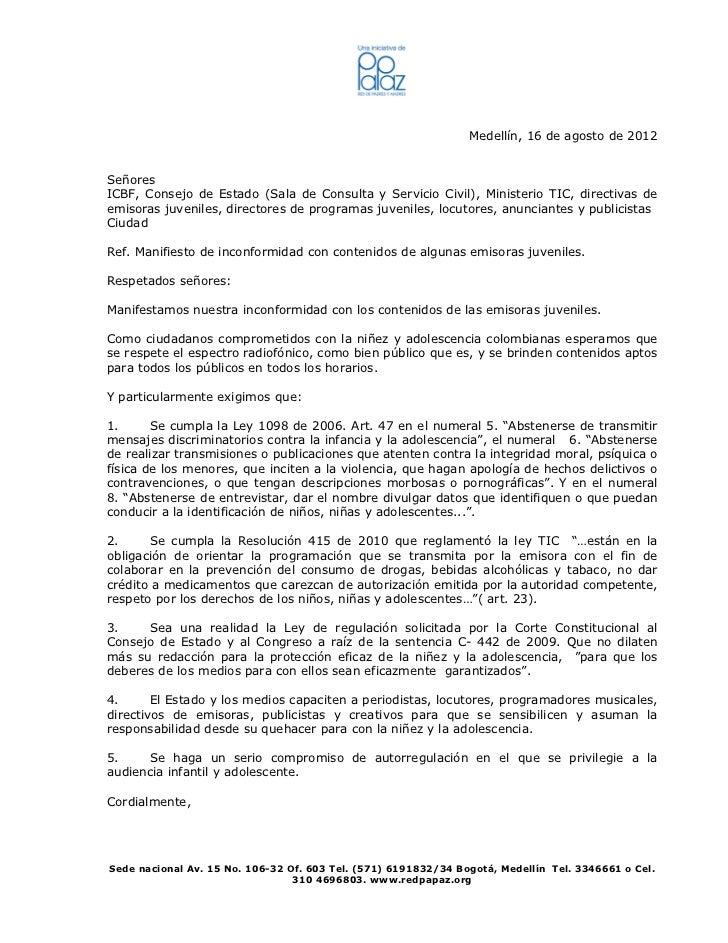 Medellín, 16 de agosto de 2012SeñoresICBF, Consejo de Estado (Sala de Consulta y Servicio Civil), Ministerio TIC, directiv...
