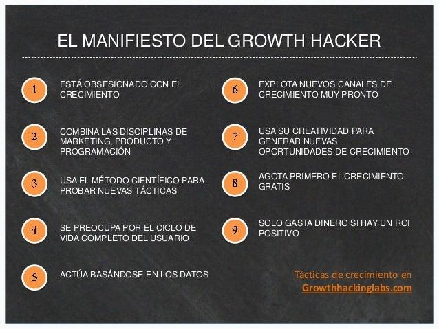 EL MANIFIESTO DEL GROWTH HACKER ESTÁ OBSESIONADO CON EL CRECIMIENTO COMBINA LAS DISCIPLINAS DE MARKETING, PRODUCTO Y PROGR...