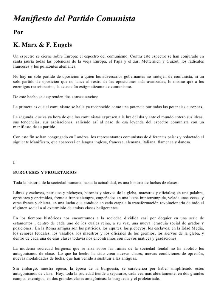 Manifiesto del Partido Comunista Por K. Marx & F. Engels Un espectro se cierne sobre Europa: el espectro del comunismo. Co...