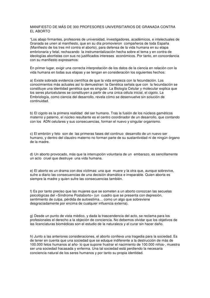"""MANIFIESTO DE MÁS DE 300 PROFESORES UNIVERSITARIOS DE GRANADA CONTRA EL ABORTO  """"Los abajo firmantes, profesores de univer..."""