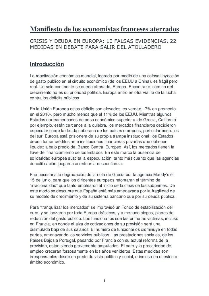 Manifiesto de los economistas franceses aterradosCRISIS Y DEUDA EN EUROPA: 10 FALSAS EVIDENCIAS, 22MEDIDAS EN DEBATE PARA ...