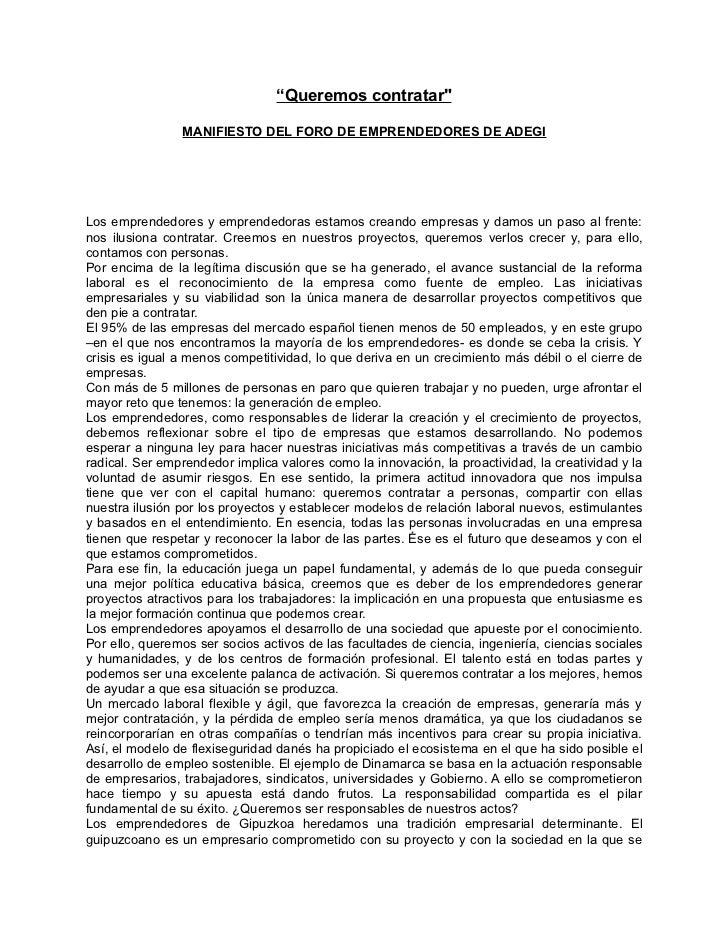 Manifiesto Foro de Emprendedores de ADEGI