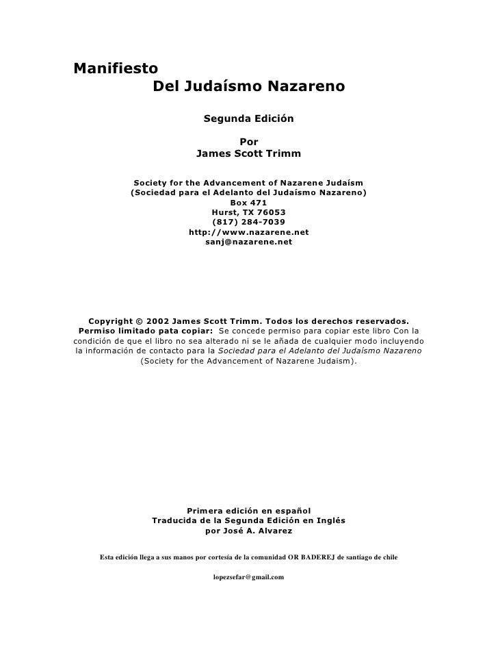 Manifiesto          Del Judaísmo Nazareno                                       Segunda Edición                           ...