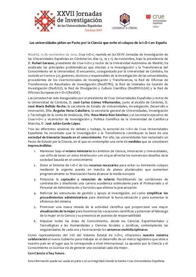 Esta informaci�n puede ser usada en parte o en su integridad citando la fuente: Crue Universidades Espa�olas Las universid...