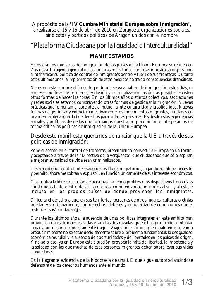 """A propósito de la """"IV Cumbre Ministerial Europea sobre Inmigración"""", a realizarse el 15 y 16 de abril de 2010 en Zaragoza,..."""