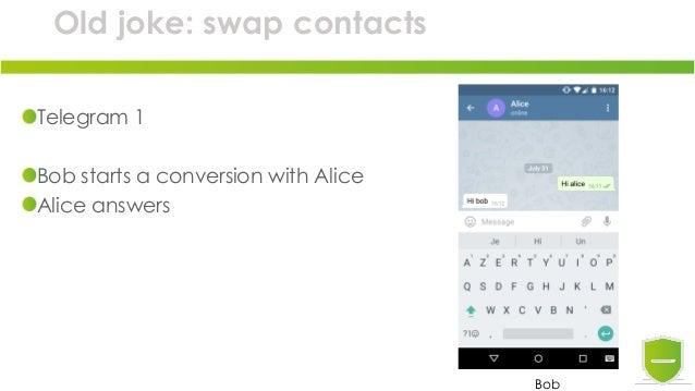 Old joke: swap contacts Telegram 1 Bob starts a conversion with Alice Alice answers Bob