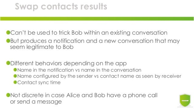 Swap contacts results Can't be used to trick Bob within an existing conversation But produces a notification and a new con...