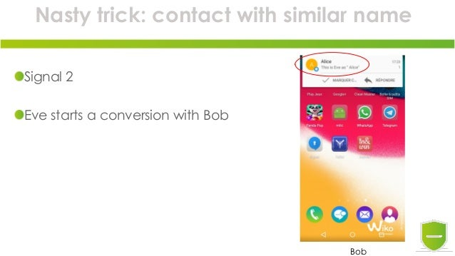 Nasty trick: contact with similar name Signal 2 Eve starts a conversion with Bob Bob