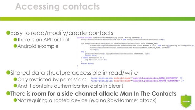 Accessing contacts Easy to read/modify/create contacts There is an API for that Android example Shared data structure acce...
