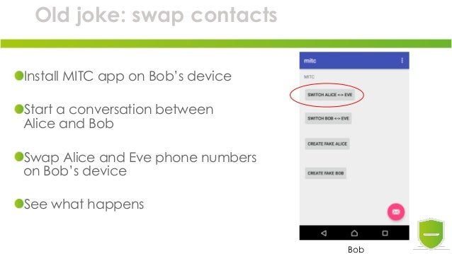 Old joke: swap contacts Install MITC app on Bob's device Start a conversation between Alice and Bob Swap Alice and Eve pho...