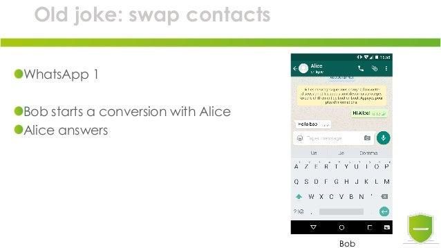 Old joke: swap contacts WhatsApp 1 Bob starts a conversion with Alice Alice answers Bob