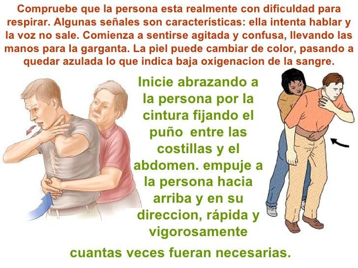 Inicie abrazando a la persona por la cintura fijando el  puño   entre las costillas y el abdomen. empuje a la persona haci...
