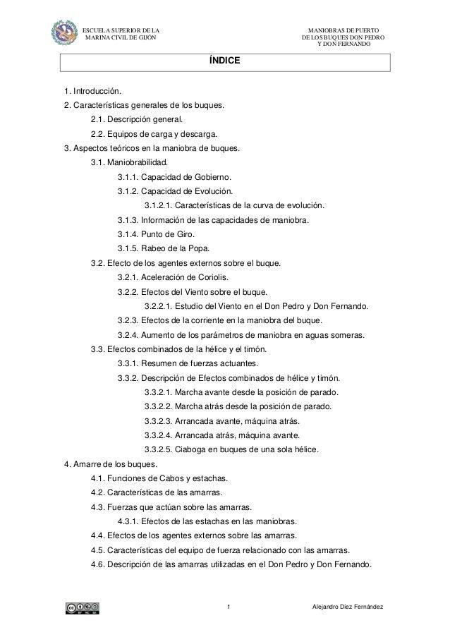 ESCUELA SUPERIOR DE LA MANIOBRAS DE PUERTOMARINA CIVIL DE GIJÓN DE LOS BUQUES DON PEDROY DON FERNANDO1 Alejandro Díez Fern...