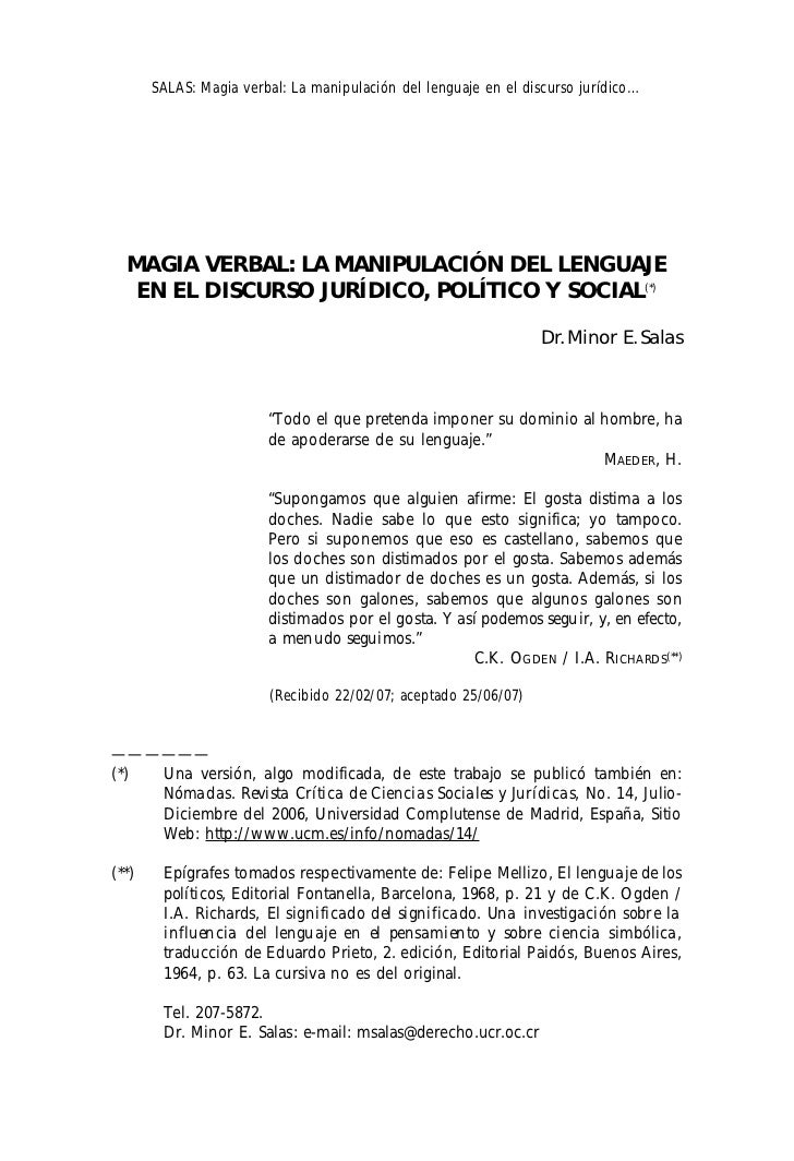 SALAS: Magia verbal: La manipulación del lenguaje en el discurso jurídico…  MAGIA VERBAL: LA MANIPULACIÓN DEL LENGUAJE   E...