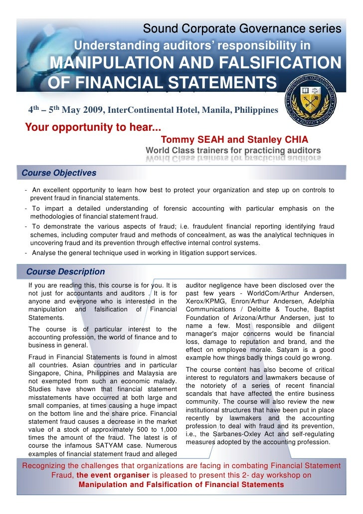 cuc cendant corporation fraudulent financial reporting First, the management may be pressurized or encouraged to commit fraudulent financial reporting within or beyond the entity in order to match the expected earnings target.