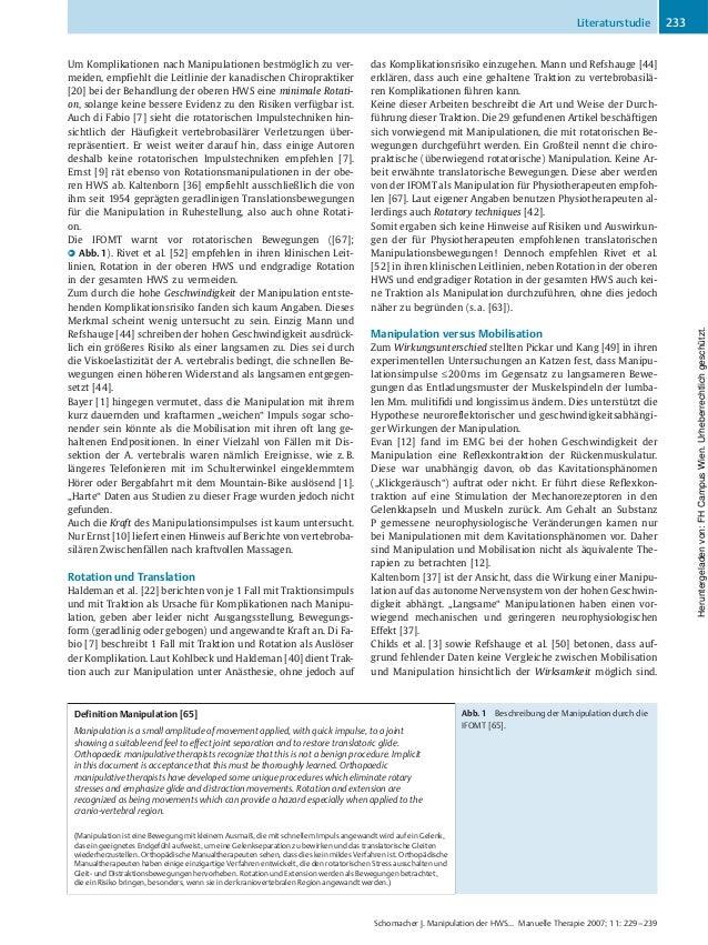 Um Komplikationen nach Manipulationen bestmçglich zu ver- meiden, empfiehlt die Leitlinie der kanadischen Chiropraktiker [...