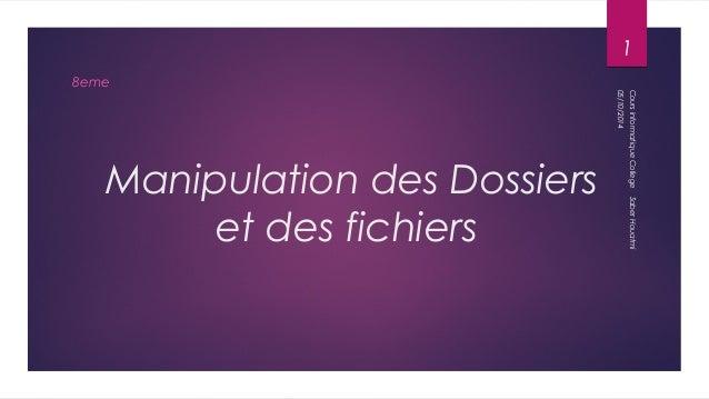 Manipulation des Dossiers  et des fichiers  8eme  1  05/10/2014  Cours informatique College Saber Houatmi