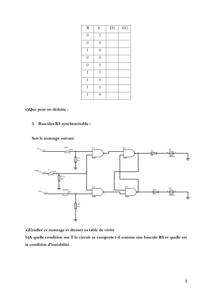 Manipulation circuits logiques manipulation n 2 for Bascule rs nand