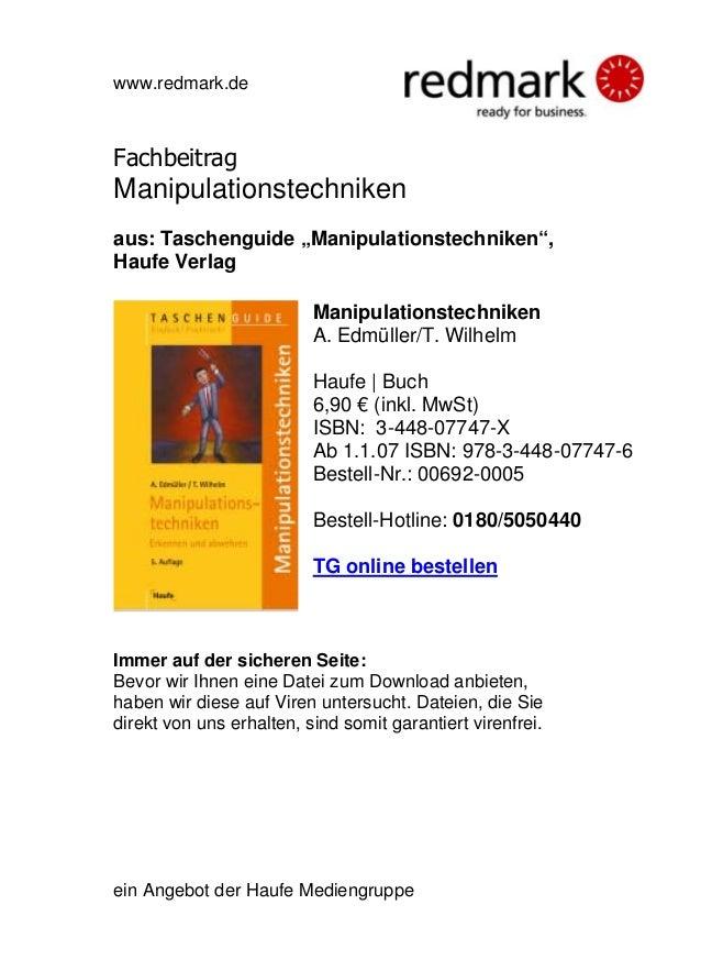 "www.redmark.de Fachbeitrag Manipulationstechniken aus: Taschenguide ""Manipulationstechniken"", Haufe Verlag Manipulationste..."