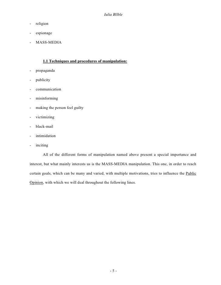 Iulia Bîlbîe  -   religion  -   espionage  -   MASS-MEDIA            1.1 Techniques and procedures of manipulation:  -   p...