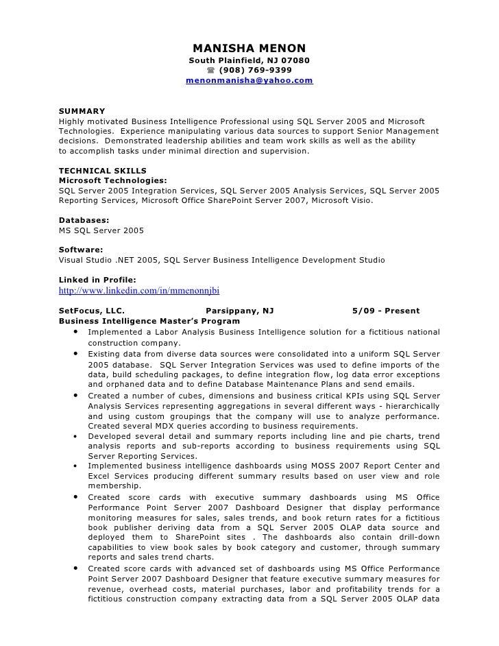 Resume sql server developer SlideShare