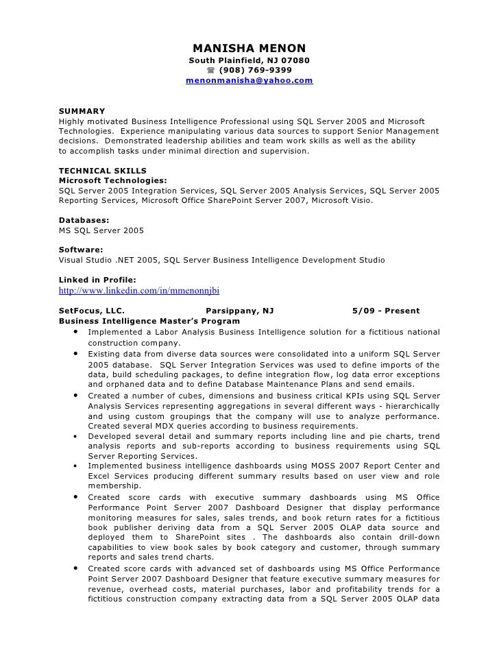 manisha bi resume manisha menon south plainfield - Business Intelligence Resume