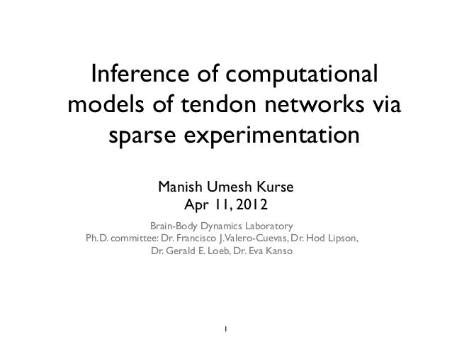 Inference of computational models of tendon networks via sparse experimentation Manish Umesh Kurse Apr 11, 2012 1 Brain-Bo...