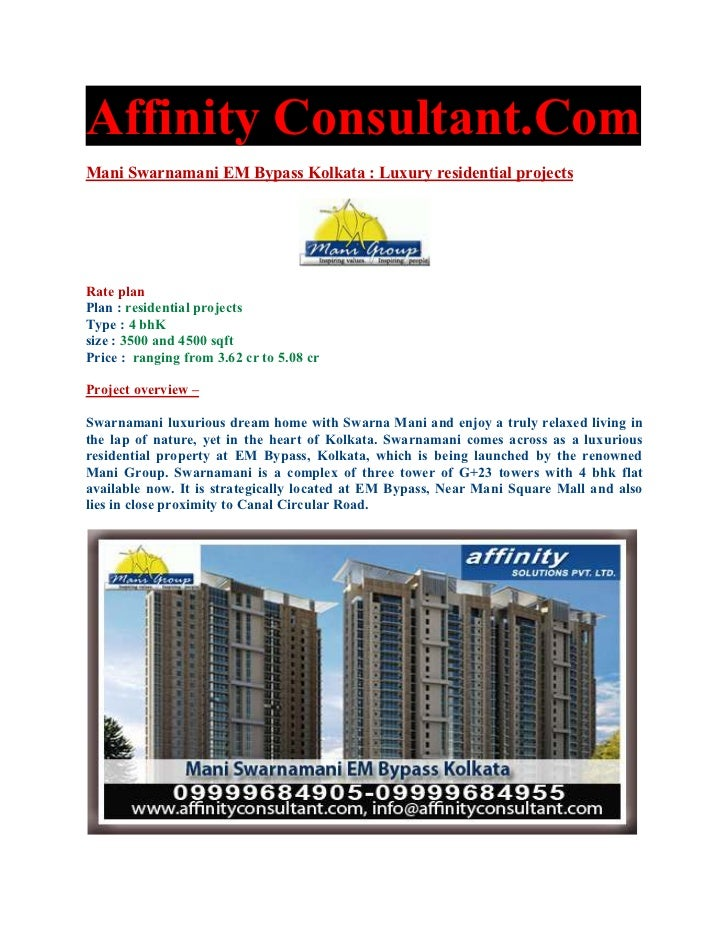 Affinity Consultant.ComMani Swarnamani EM Bypass Kolkata : Luxury residential projectsRate planPlan : residential projects...