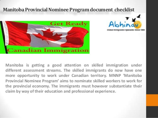 checklist pr application provincial nominee