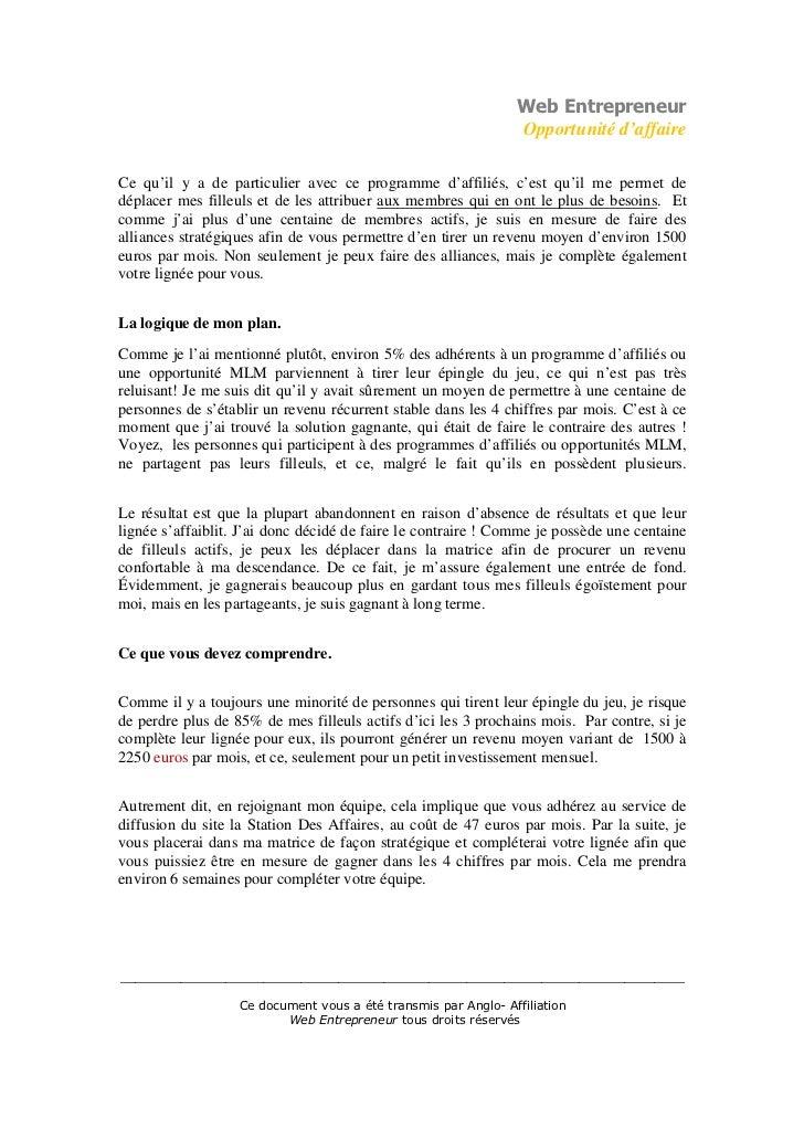 Web Entrepreneur                                                                Opportunité d'affaireCe qu'il y a de parti...