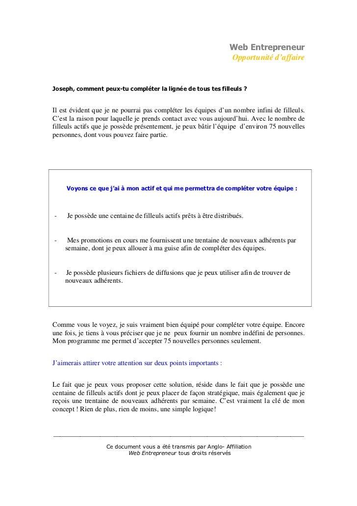 Web Entrepreneur                                                                  Opportunité d'affaireJoseph, comment peu...