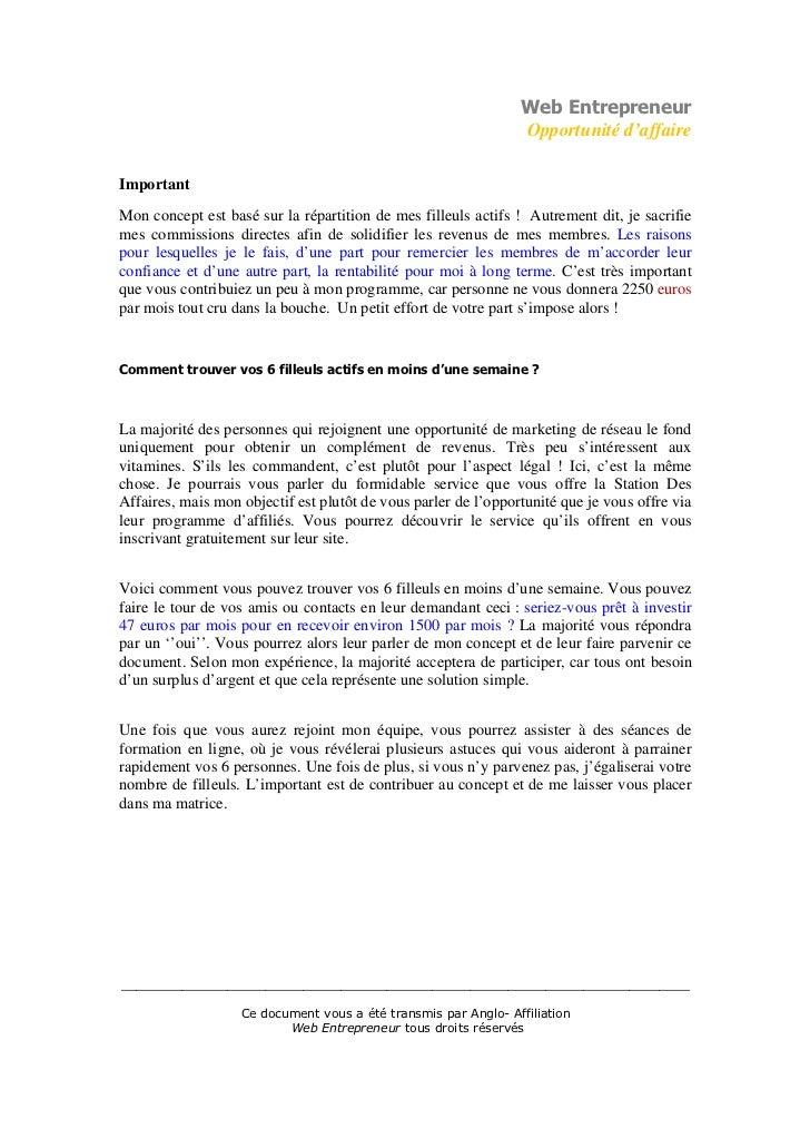 Web Entrepreneur                                                                Opportunité d'affaireImportantMon concept ...