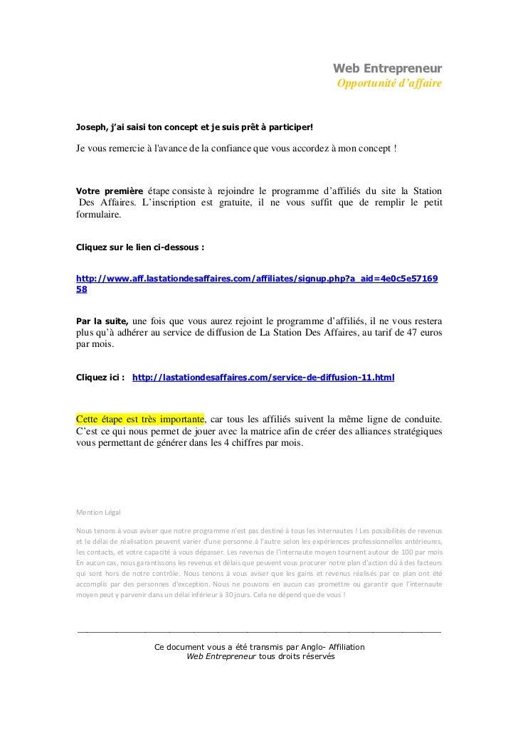 Web Entrepreneur                                                                                  Opportunité d'affaireJos...