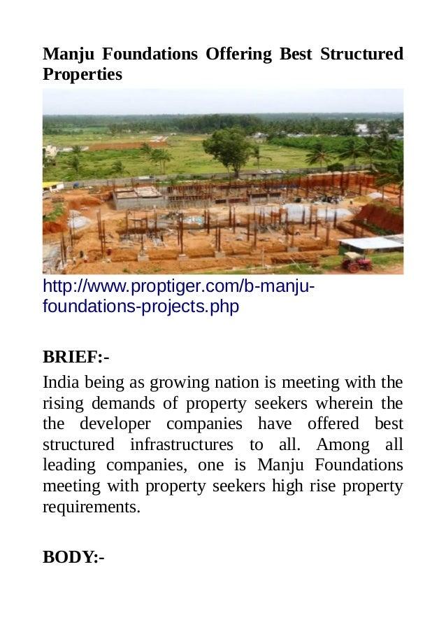 Manju Foundations Offering Best Structured Properties http://www.proptiger.com/b-manju- foundations-projects.php BRIEF:- I...