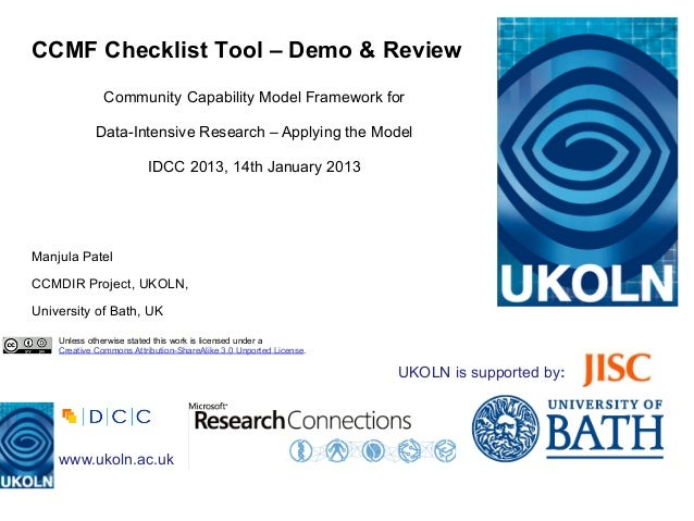 CCMF Checklist Tool – Demo & Review               Community Capability Model Framework for             Data-Intensive Rese...