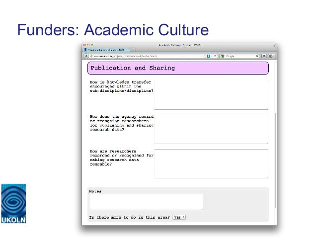 Funders: Academic Culture   A centre of expertise in digital information management