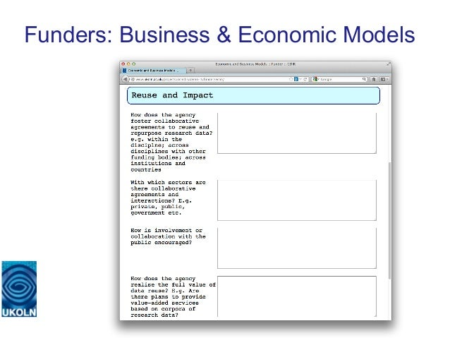 Funders: Business & Economic Models   A centre of expertise in digital information management