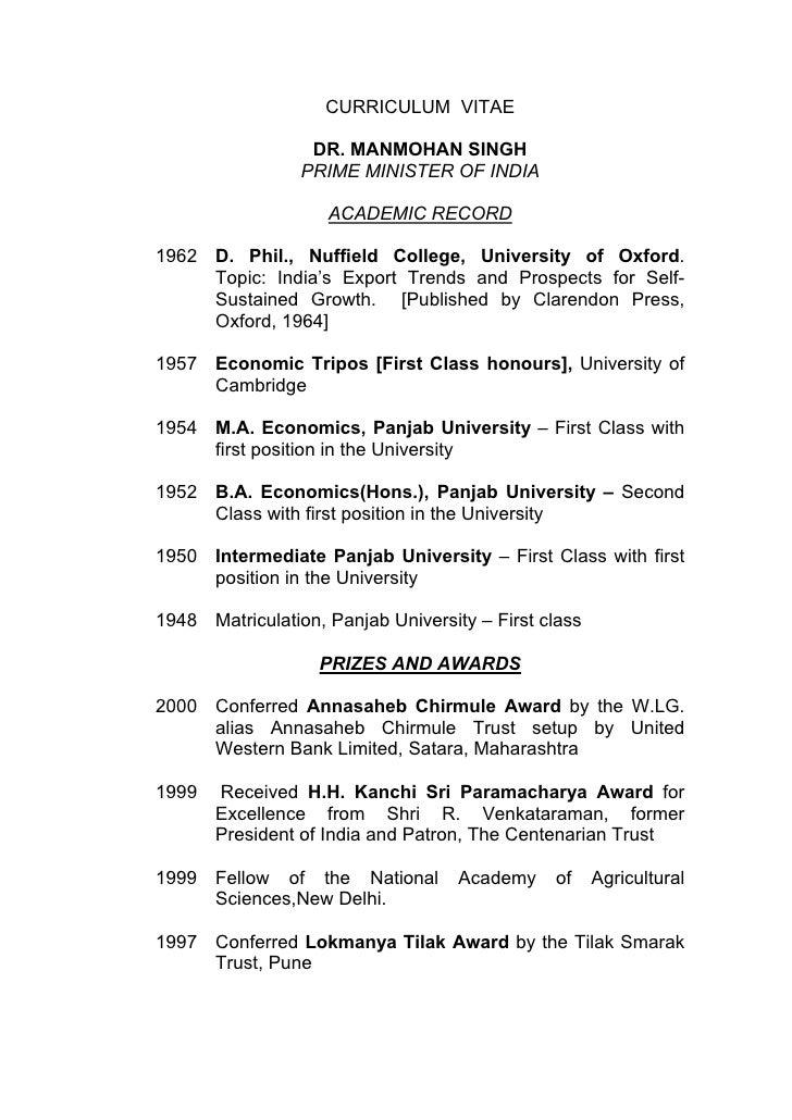 Manmohan singhs resume