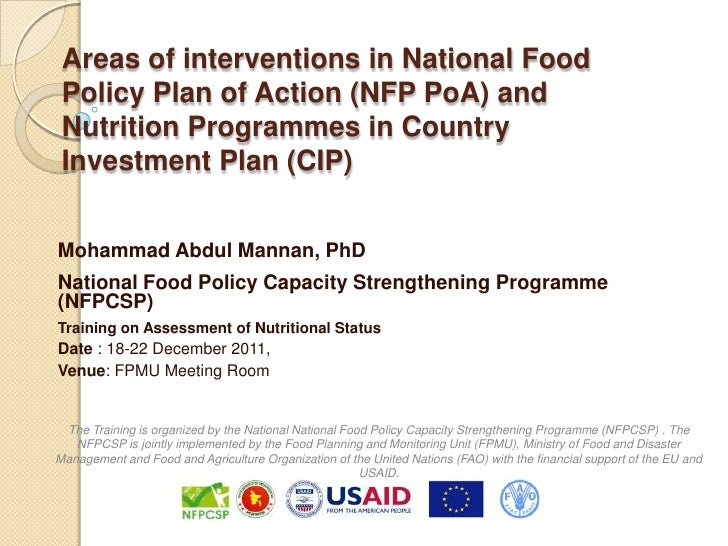 Areas of interventions in National Food Policy Plan of Action (NFP PoA) and Nutrition Programmes in Country Investment Pla...