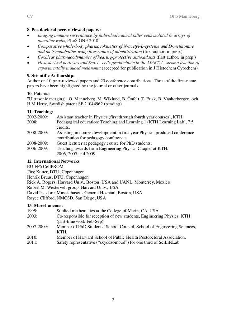 cv for otto manneberg  phd